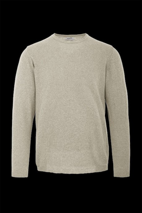 Round collar sweater in cotton-linen
