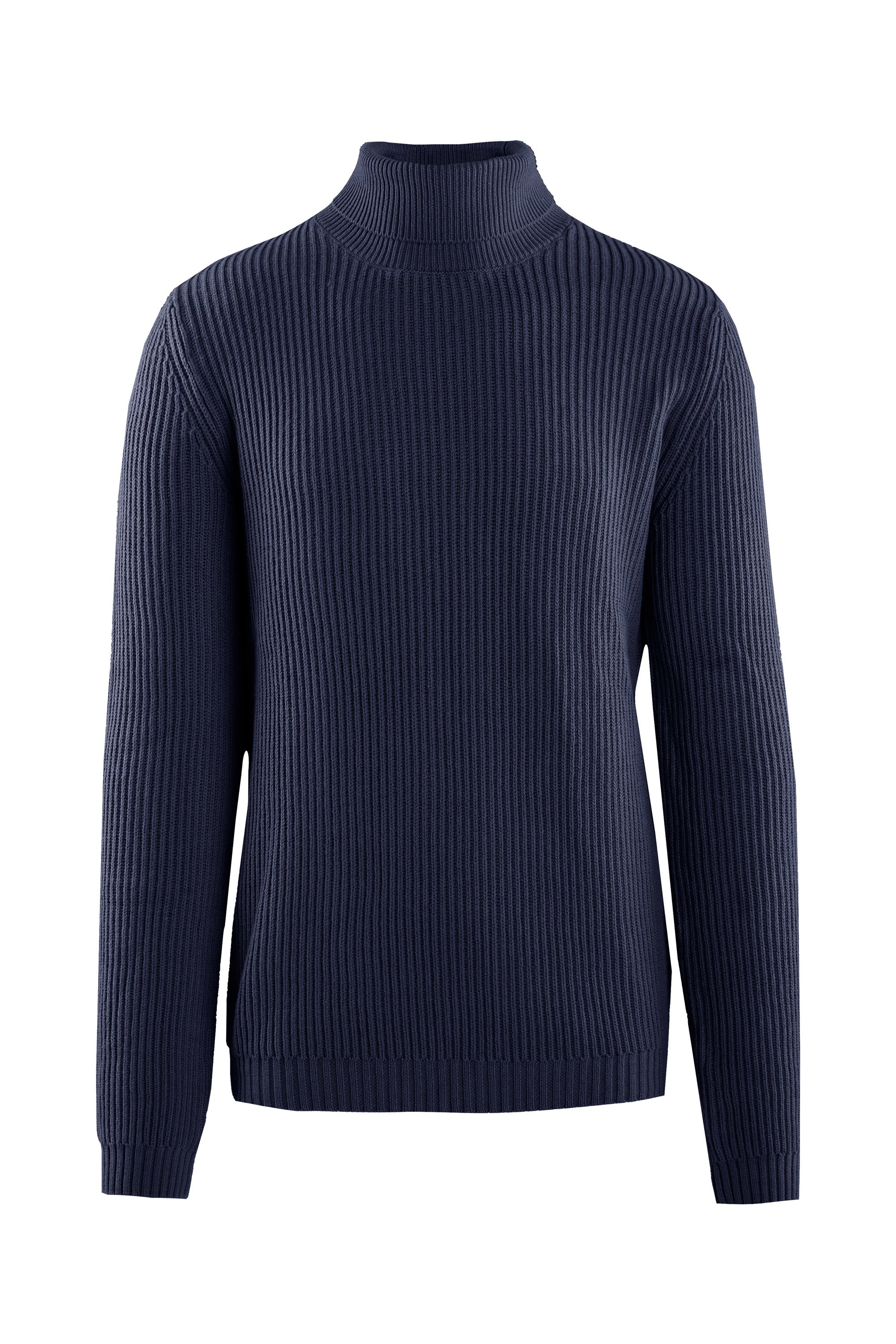 Ribbed turtleneck cotton blend