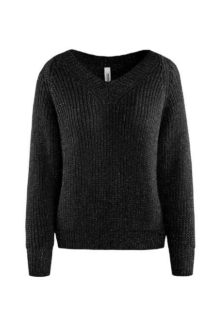 Lurex Pullover mit V-Ausschnitt