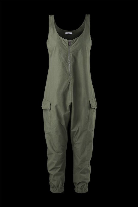 Cotton overalls with zip