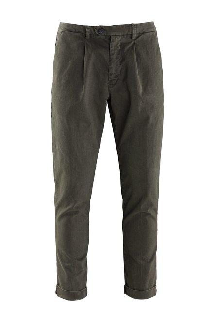 Pantaloni Laks in Cotone Elasticizzato con Microfantasia