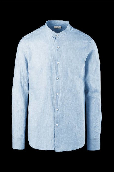 Mandarin neck cotton-linen shirt