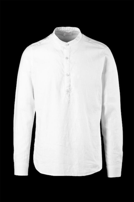 Cotton-linen shirt guru collar