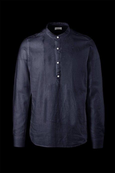 Camicia con Ricamo in Lino e Cotone