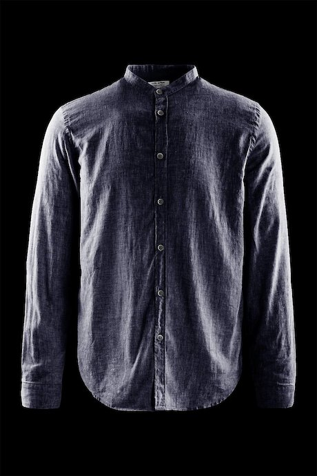 Shirt in linen-cotton with mandarin collar