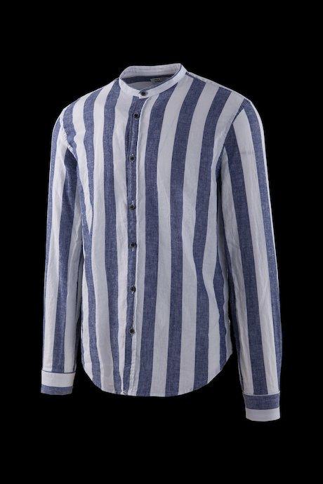 Camicia a Righe in Lino-Cotone