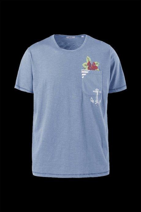 T-shirt con Taschino Cotone Fiammato