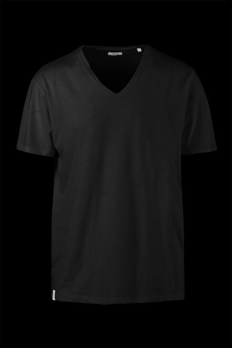 Cotton-linen T-shirt V collar