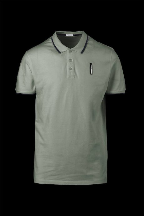Three buttons polo shirt with two colours sleeve
