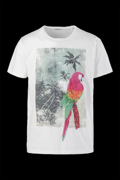 Flamed cotton T-shirt Hawaiian print