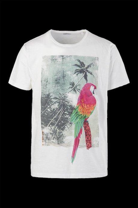 T-shirt Cotone Fiammato Stampa Hawaiana