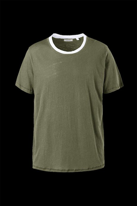 Cotton-linen T-shirt double layer neck