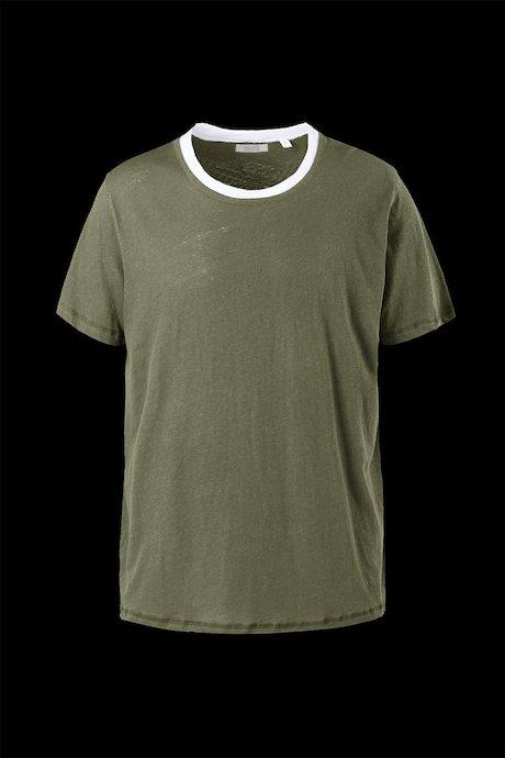 T-shirt Cotone e Lino Doppio Collo