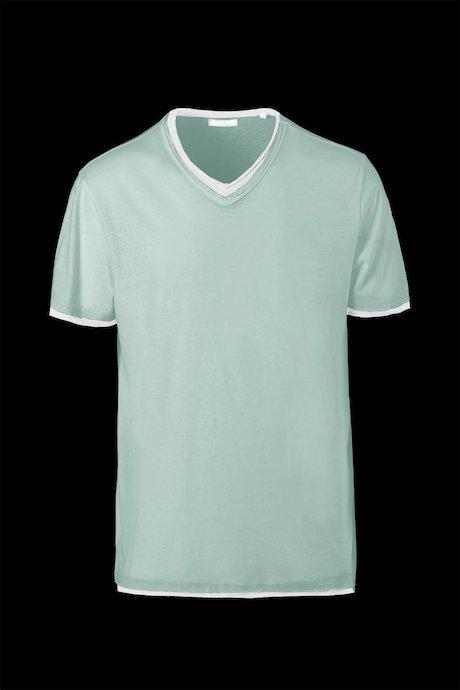 T-shirt Cotone e Lino Collo a V