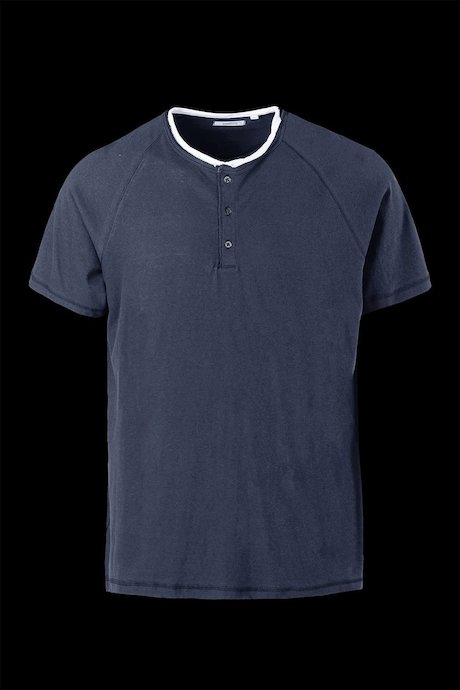 T-shirt Cotone e Lino con Bottoni