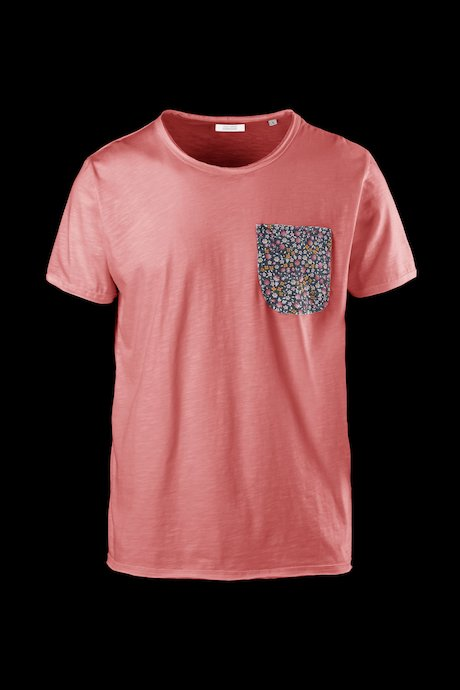 Flamed cotton T-shirt with floral pattern pocket