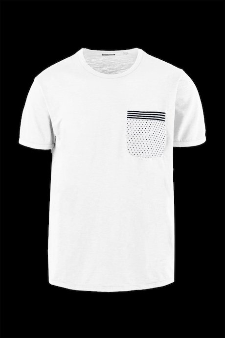 Flamed cotton T-shirt with micro print pattern pocket