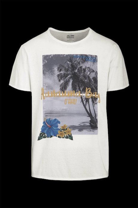 Cotton-Linen T-shirt Hanauma Bay