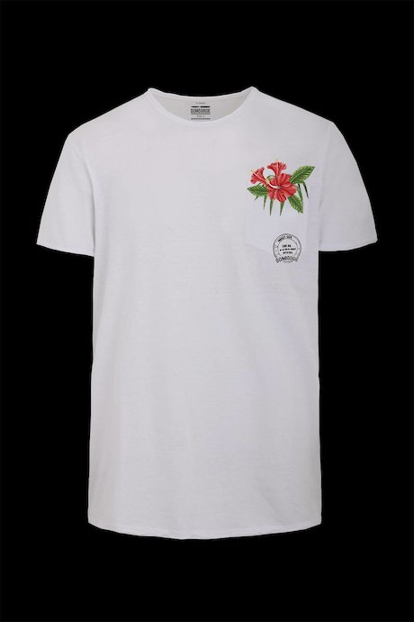 Cotton-linen T-shirt floral print