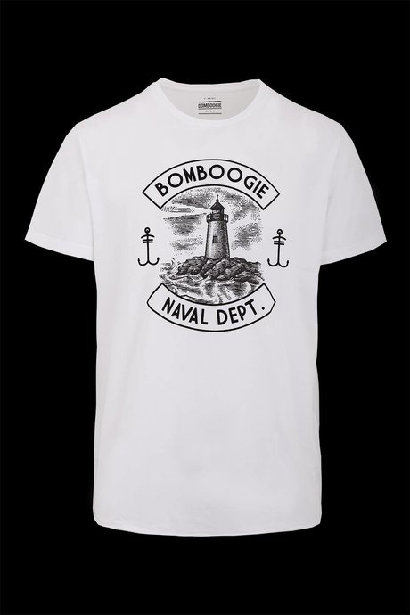 T-shirt con Stampa Naval Dept