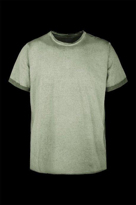 T-shirt Tinta a Freddo con Risvolto