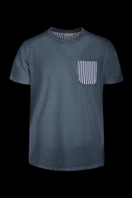 T-shirt striped breast pocket