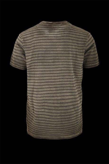 T-shirt striped breast pocket
