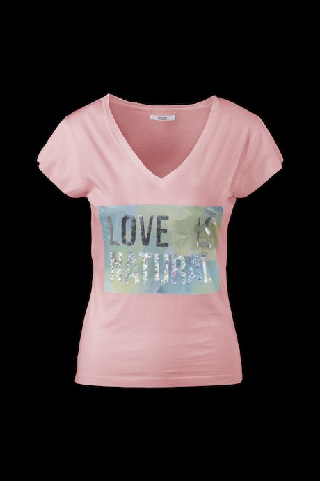 V neck T-shirt metallic effect