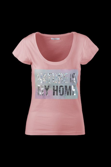Wide neck T-shirt metallic effect