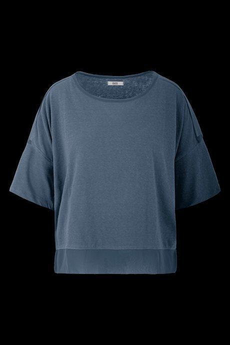 Large bi material blouse
