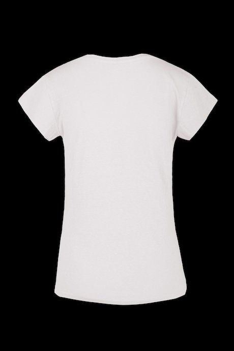 V collar T-shirt linen-cotton