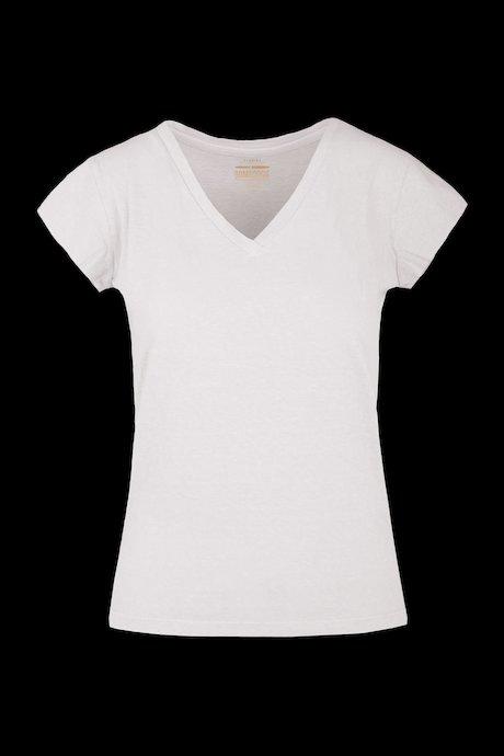 T-Shirt mit V-Ausschnitt aus Baumwoll-Leinen-Mischung