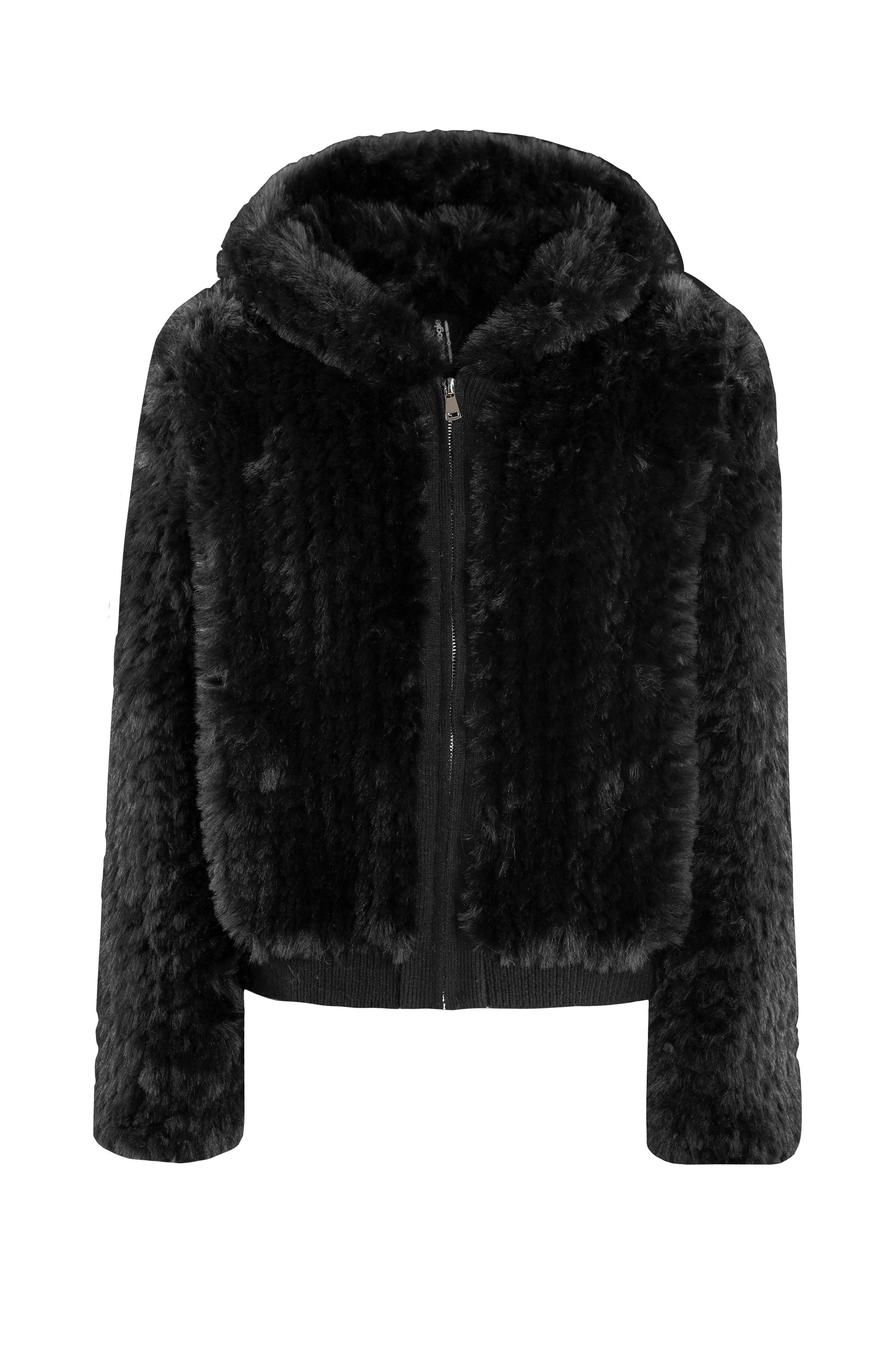 Faux fur and tricot coat