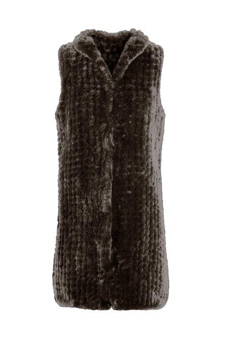 Faux fur and tricot long vest