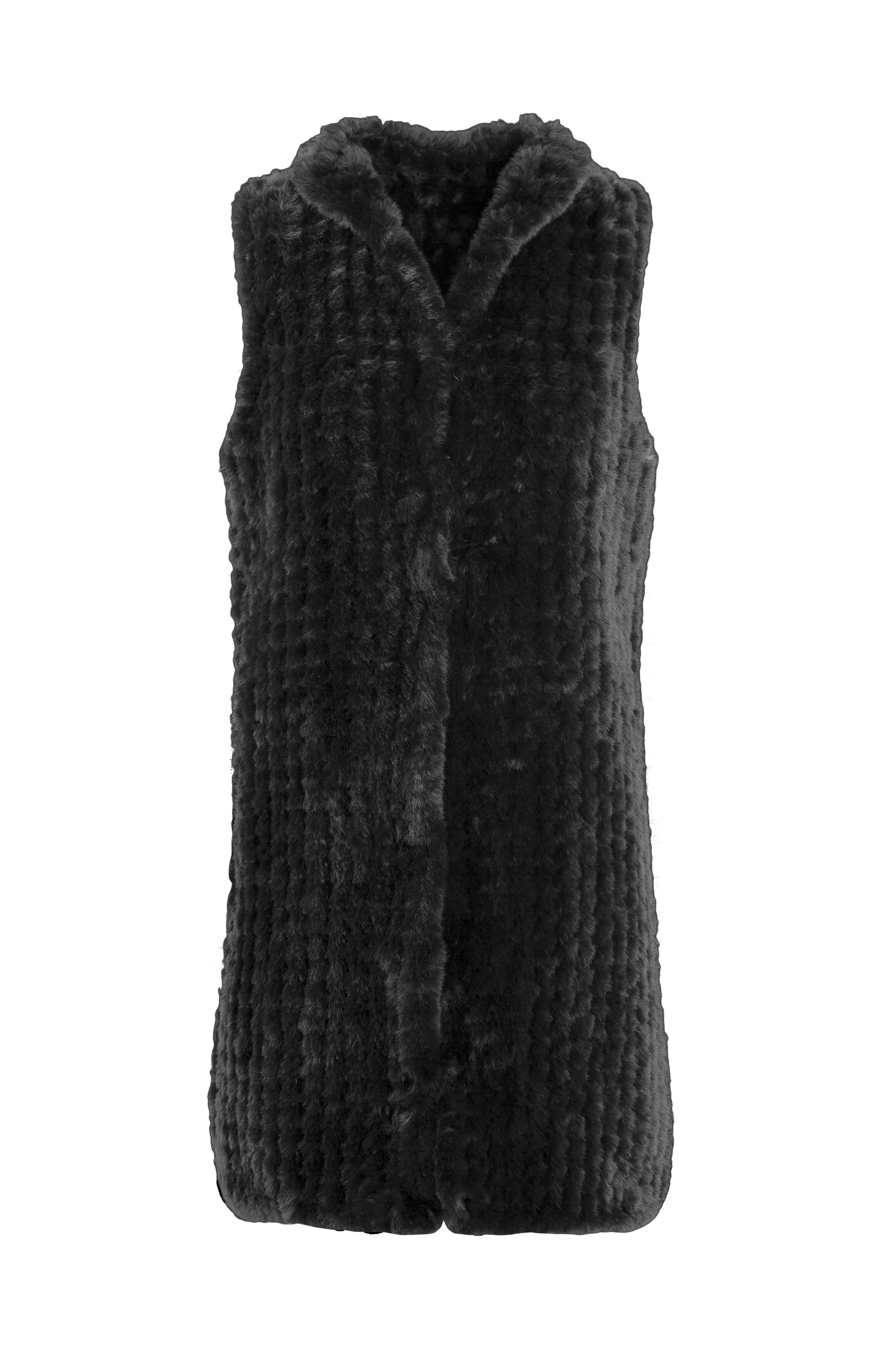 Faux fur and tricot long vest