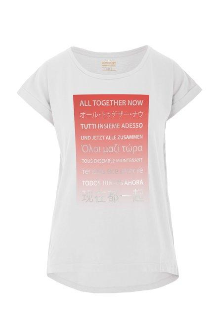 T-shirt with laminated print