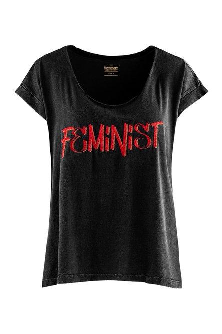 T-Shirt mit weitem Ausschnitt und gestickter Buchstaben