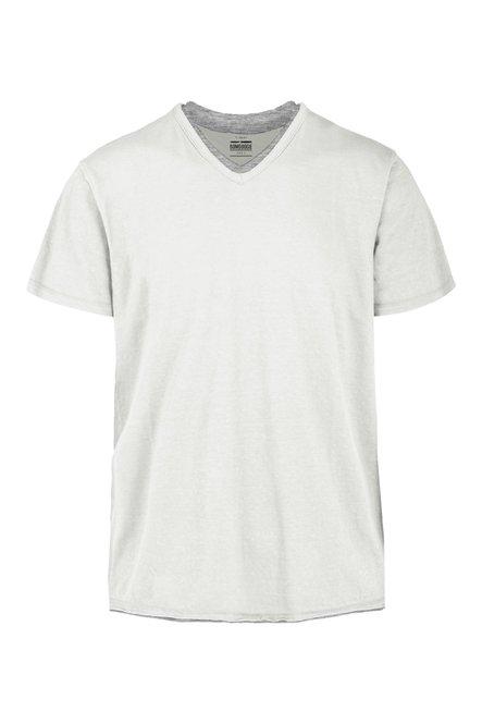 T-Shirt mit V-Ausschnitt aus gemischter Leinenbaumwolle