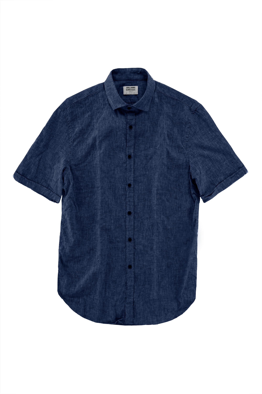 Camicia Manica Corta in Lino e Cotone