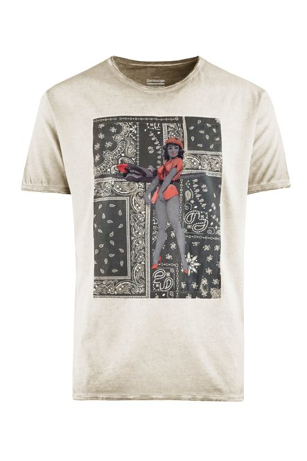 T-shirt Tinta a Freddo con Pin-up