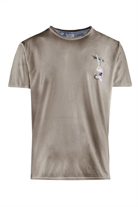 T-shirt cold dyed with small Pin-up print