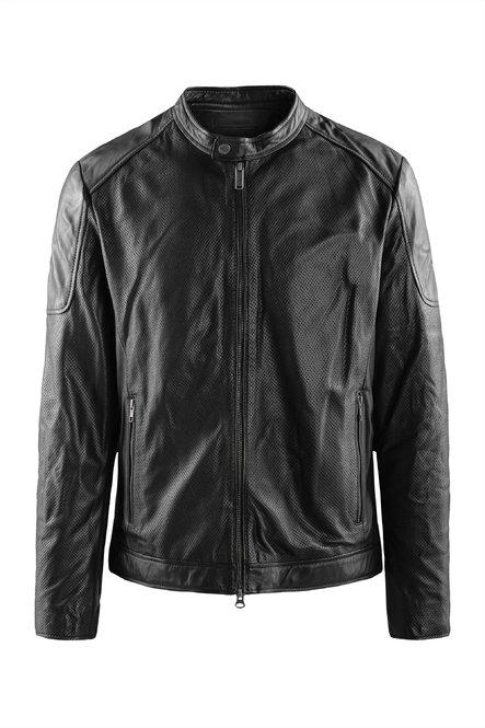 Clan pierced leather jacket
