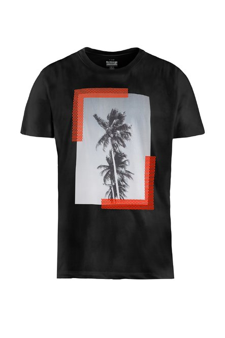 T-shirt in cotton-linen with palms