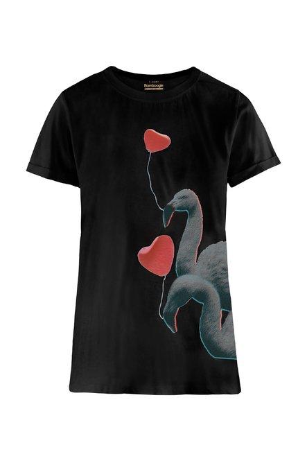 T-Shirt aus gemischter Leinenbaumwolle mit Flamingo und Herzen