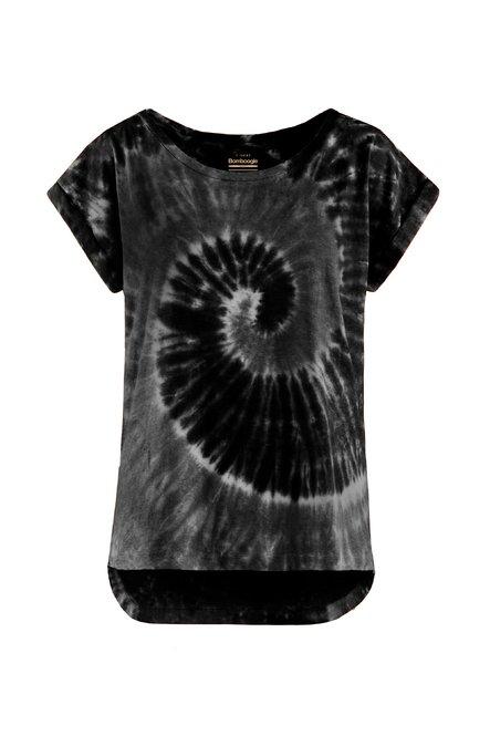 T-Shirt aus gemischter Leinenbaumwolle mit Tie-Dye Spiralmuster