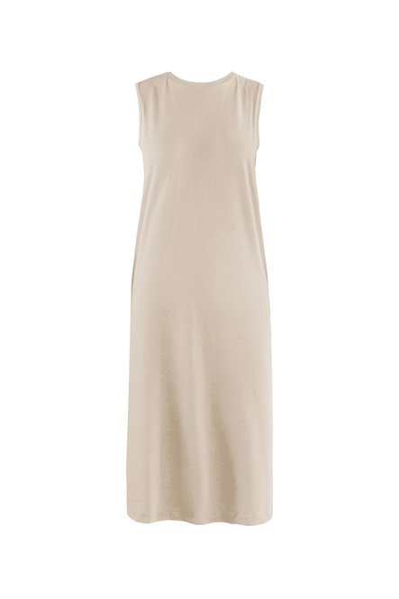 Sleeveless dress in cotton jersey and linen