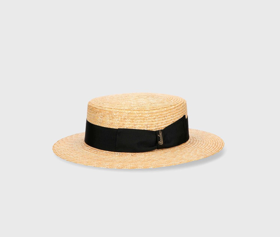 The boater with woven straw