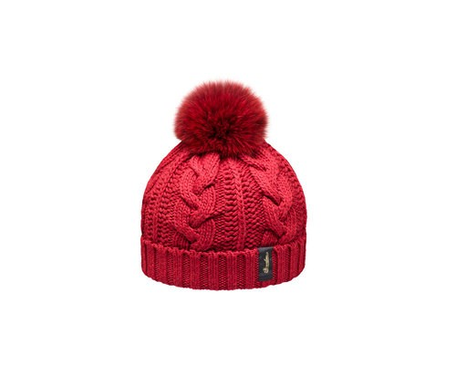 Braided beanie with pom-pom
