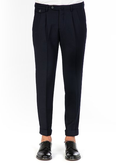 Easy fit trousers whit fron rocket and cuff in virgin - Blue Navy