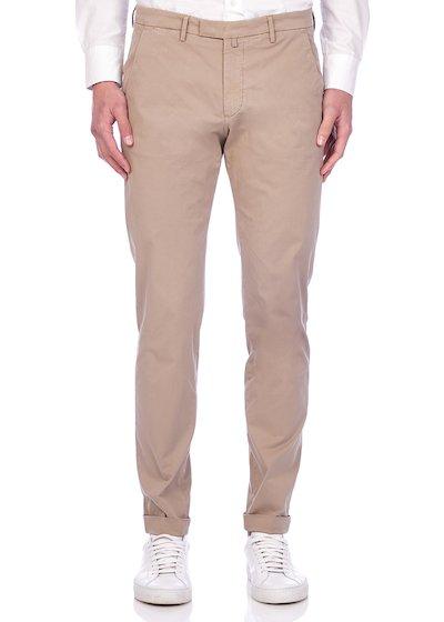 Slim fit slash pocket trousers gabardine with cuffs - Beige